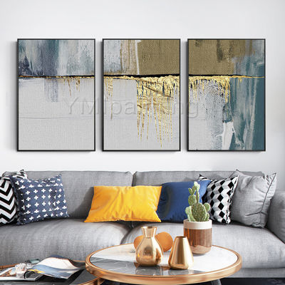 3 pieces Wall Art Gold leaf Abstract painting acrylic paintings on canvas framed painting Original art extra Large Wall Pictures $163.53