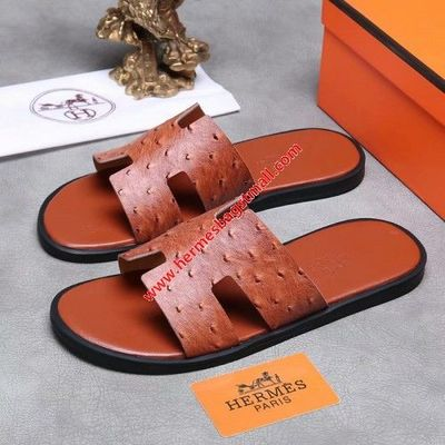 HERMES IZMIR SANDAL OSTRICH LEATHER IN BROWN