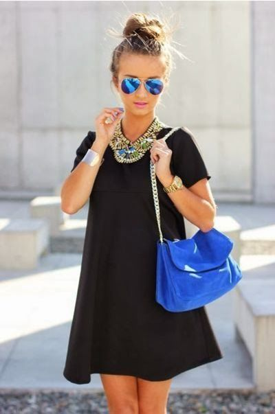 Black shift dress and blue accessories to make it pop #spring