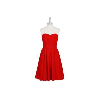 Red Azazie Kaiya - Chiffon Knee Length Sweetheart Back Zip Dress - Cheap Gorgeous Bridesmaids Store