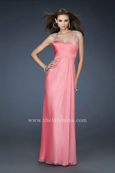 Coral La Femme 18280 Sweetheart Chiffon Long Prom Dress With Open V-back