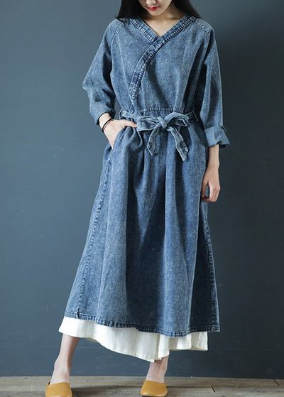 Blue denim dress, Dress women, Autumn dress, Loose dress, Plus size clothing, Vintage denim dress, Long denim dress, Long sleeve dress