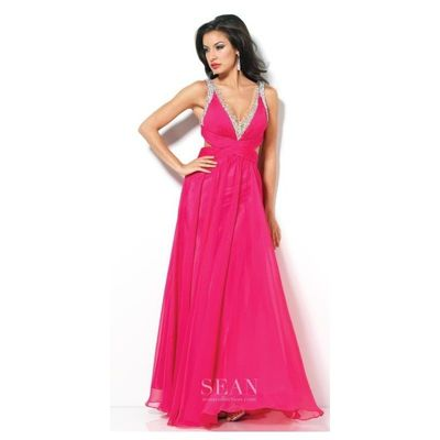 Sean Collection 50560 Deep V Neck Evening Dress - Brand Prom Dresses Beaded Evening Dresses Charming Party Dresses