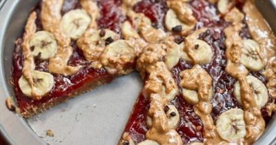 peanut butter, jam and banana breakfast pizza from ohsheglow... / food ...