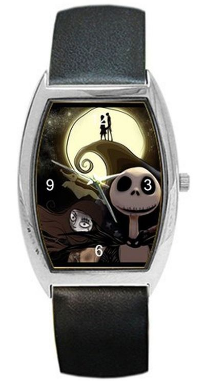 Christmas Jack Skellington on a Womens or Mens Barrel Watch with Leather Band - ships from Indiana $32.00