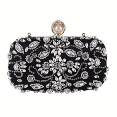 Luxury Clutch Purse Women Crystal Diamond Evening Bags White Pearl Beaded Shoulder Party Bag Bridal Wedding Clutches Handbags $54.79