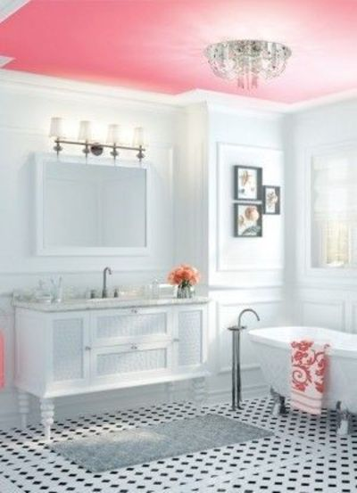 Painted ceiling instead of walls may be a good option for 2nd bathroom ideas