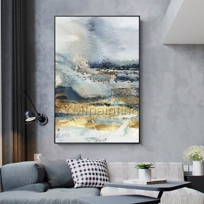 Modern Abstract acrylic Gold and blue paintings on canvas art original texture painting Large wall pictures cuadros abstractos hand-painted $123.75
