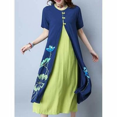Women Elegant Printed Fake Two Pieces O-Neck Short Sleeve Casual Dress $50.94