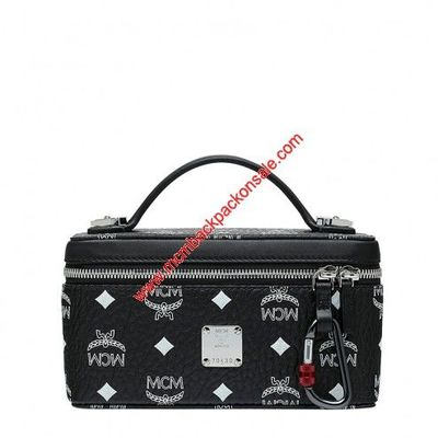 MCM Small Rockstar White Logo Visetos Vanity Case In Black