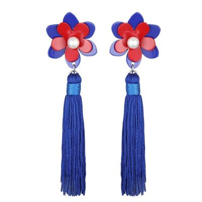 Buy these flower petal tassel dangle earrings in blue/red for your next outing from Yoko's fashion, the leading earrings wholesaler of Manchester.