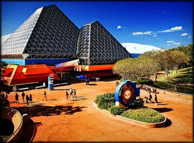 The Imagination Pavilion in Future World at EPCOT Center. The design was influenced by the pavilions of the Montreal Expo67, with the Gyroton attraction in part