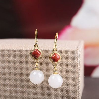 Natural Hotan Jade Earrings - 925 Silver Delicate Earrings - South Red Agate Earrings - holiday gift for her