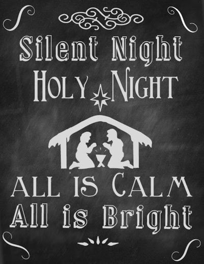 Silent+Night+8x10 Chalkboard Art + Free Christmas Printable