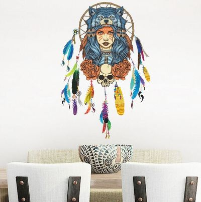 Indian Wolf Headdress Full Color Girl Wall Stickers Wall Decorative Creative Removable Wall Stickers $4.40