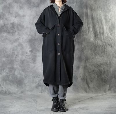 Black autumn hooded jacket, Black jacket women, Women's autumn Coat, Hooded midi Coat