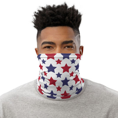 Patriotic Face Mask, Americana Neck Gaiter, All-Over Print Unisex Face Cover, Face Mask For Men and Women, Washable, Red & Blue Stars $17.95
