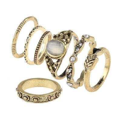 Fashion Vintage Opal MIDI Rings Set Antique 7pcs / Sets BOHO National Style Female Charms Jewelry Ring for Women $25.00