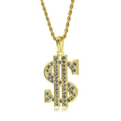 Gold Dollar Sign Pendant Rope Chain Necklace £17.95