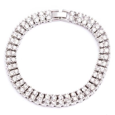 Silver-Plated Square Pharaoh Bracelet with Bling (2 Rows) £21.95