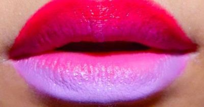 Psychedelic Cyclamen Ombre Lips: Rimmel Color Show-off in 220 Shocking Pink and Lime Crime D'Lilac