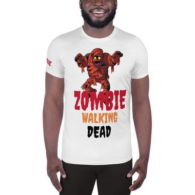 Funny Zombie Walking Dead Men's Athletic T-Shirt $40.50