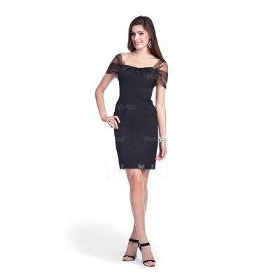 Sheath/Column Square Neckline Knee-Length Satin Tulle Cocktail Dress - Beautiful Special Occasion Dress Store