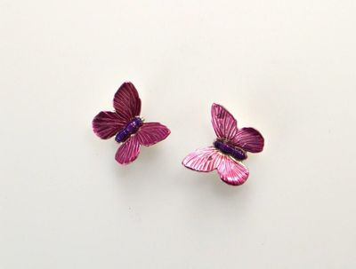 Handmade Magnetic Non Pierced Clip Hand Painted Pink Butterfly Earrings $25.00 Designed by LauraWilson.com