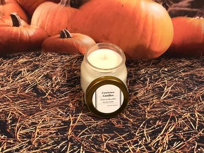 Hand Poured Creme Brulee scent soy wax container candle infused with essential oils $13.00