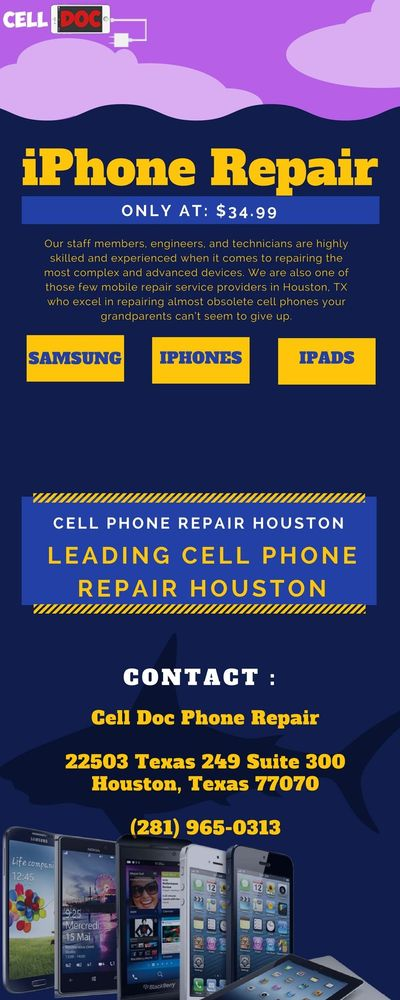 Cell Doc Phone Repair is known for repairing all cell phones at affordable cost. We are the team of experts who are able to resolve all your phone repair problems. If you are looking for best phone repair service provider in Houston, Contact Us at: (2...