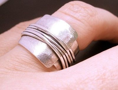 Destiny Wrapped Wide Band Sterling Silver Ring by deliasthompson