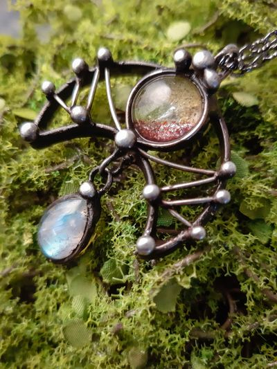 Pendant Fire and Water. It Crescent Moon with aquarium quartz and Moon stone, fantasy pendant, necklace, lunar necklace, Moon Jewelry $49.00