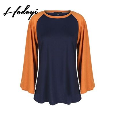 Oversized Vogue Split Front Solid Color Flare Sleeves Scoop Neck Fall Casual 9/10 Sleeves T-shirt - Bonny YZOZO Boutique Store