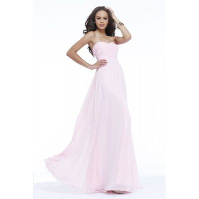 Simple A-line Sweetheart Ruching Floor-length Chiffon Wedding Guest Dresses - Dressesular.com