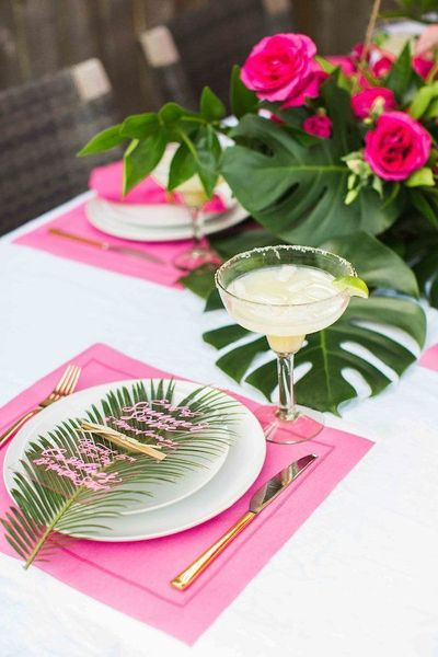 We're saying farewell to summer in style with a tropical soirée & Cointreau's Original Margarita. The palm print & pink may make this my favorite party yet!