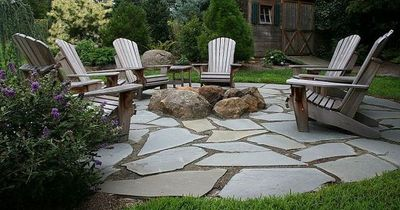 Flagstone And Pea Gravel Patio Flagstone Patio With Fire P For My Backyard Juxtapost