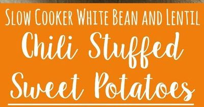 Delicious slow cooker vegan chili stuffed into baked sweet potatoes makes the perfect healthy comfort meal! Hungry for more? Follow me! Like my page on Facebook