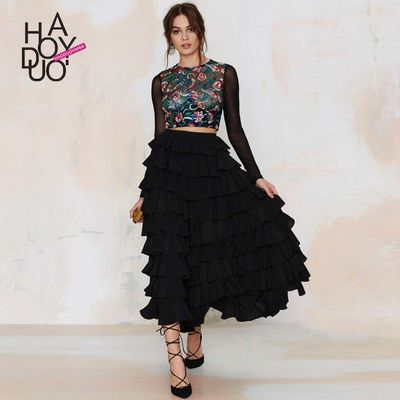 Must-have Elegant Vogue Tiered Skirt Frilled High Waisted Multi Layered Skirt - Bonny YZOZO Boutique Store