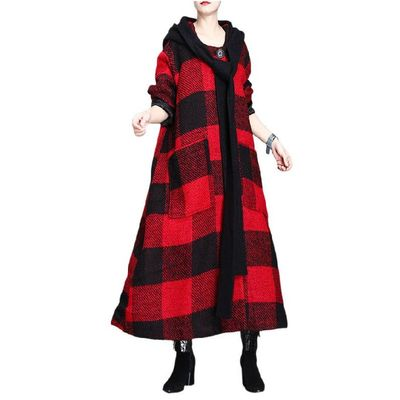 Winter Plaid Wool Coat, Cashmere Coat, Red and Black grid Women Coat, Plus Size Clothing, Long Coat, Hooded Winter Clothing