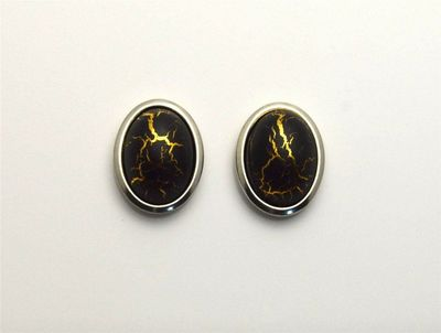 18 x 22 mm Black and Silver With Gold Matrix Oval Magnetic Non Pierced Clip Earrings $45.00 Designed by LauraWilson.com