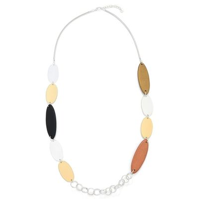 Wood and Metal Necklace Chain - Silver/Brown