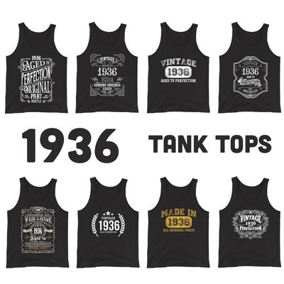1936 Birthday Gift, Vintage Born in 1936 Tank tops for Women men, 84th Birthday shirt for Her him, Made in 1936 Tanks, 84 Year Old Birthday $19.99