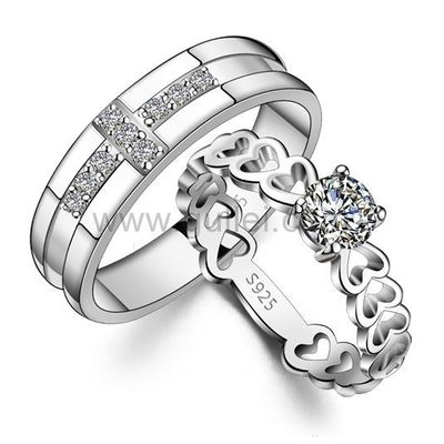 Personalized Cute Hearts Lovers Sterling Silver Rings Set ...