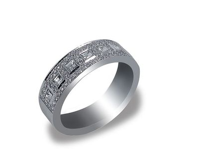 Bez Ambar 18K White Gold Diamond Band with 7 Blaze Cut Diamonds weighing .35ct. and 60 Round Pave set #Diamonds weighing .37ct. #weddings