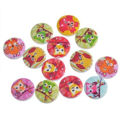 Pack of 50 Assorted Colourful & Cute 15mm Round Wooden Owl Buttons. Perfect for Easter Holidays, Sewing and Needle Craft. Wisdom and Virtue. £3.09