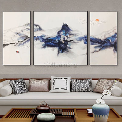 Set of 3 Wall Art mountains Peaks Modern landscape abstract birds Art Paintings on canvas Blue Original large wall art cuadros abstractos $248.75