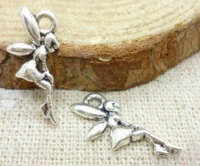 Pack of 50 Silver Fairy Angel Charms. 8mm x 14mm Tibetan Metal Pendants. Create Beautiful Animal, Nature, Spring, Summer Theme Jewellery. £4.39