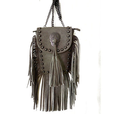 2016 women black tassel bag classic flap bag PU leather small shoulder crossbody bags for women Rivets Skull clutch handbag $23.90