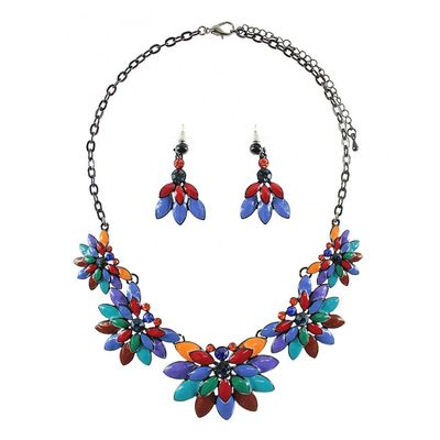 Floral Effect Necklace Set - Multi