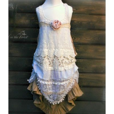 Girls size 8-10 years white gold bohemian flower girl. Rustic lace flower girls dress. Photo prop. - Hand-made Beautiful Dresses|Unique Design Clothing